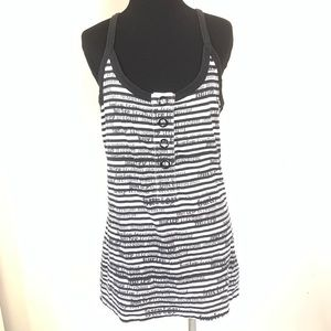 HURLEY BLACK AND WHITE STRIPED COVER UP DRESS SZ L